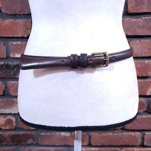 Coach Brown Genuine Leather Skinny Belt Brass